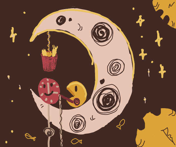Pac-Man and a clock are fishing on the moon
