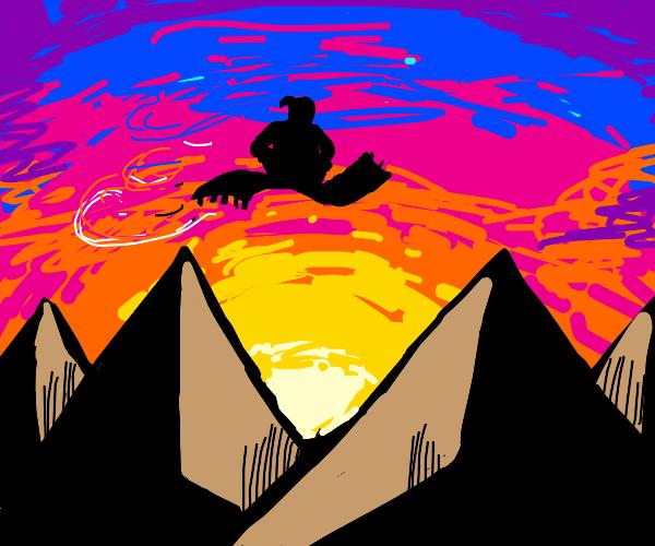 Lonely magic carpet ride during sunset
