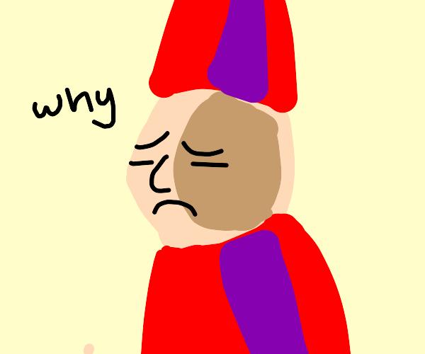 "Garden-gnome says ""why?"""