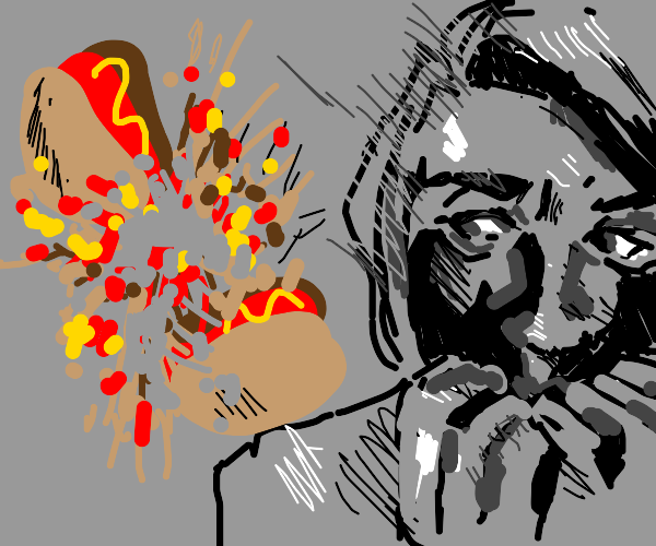 Woman scared of hot dog that's exploding