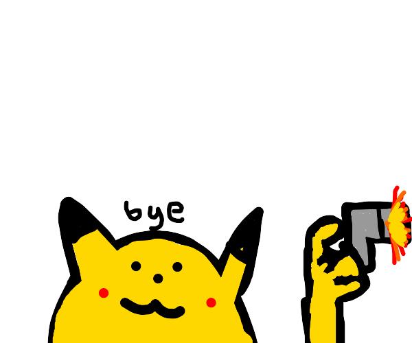 Pikachu has a gun