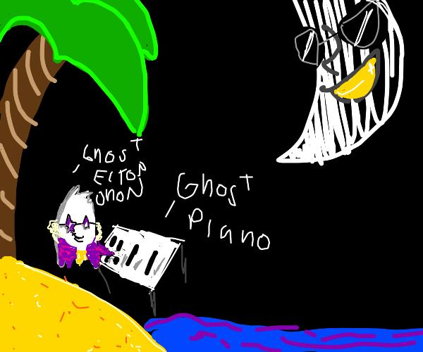 Goast Elton John playing piano on Island