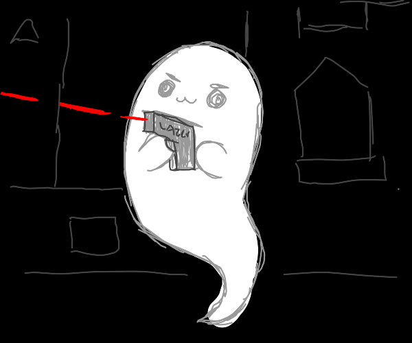 Ghost playing laser tag