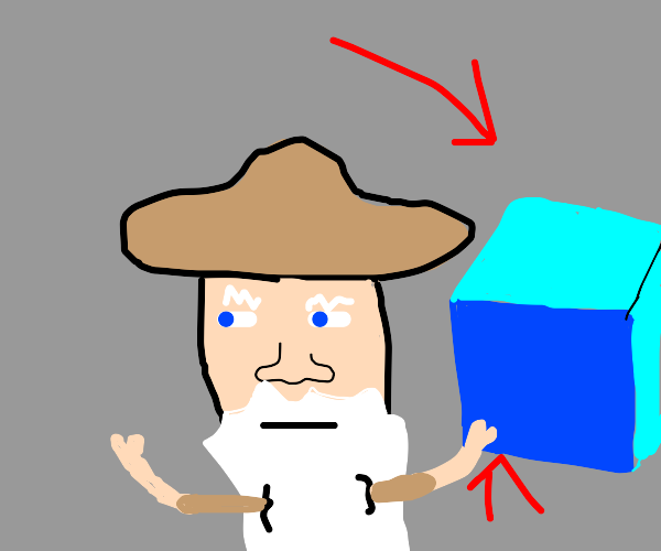 Man wearing a hat holds a blue box