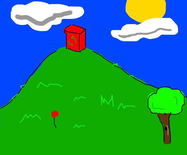 Red recycling bin on a hill