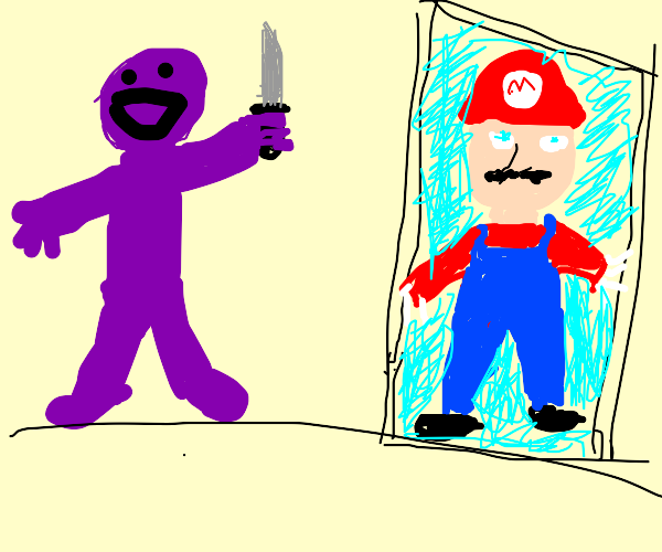 Purple person with knife is Mario