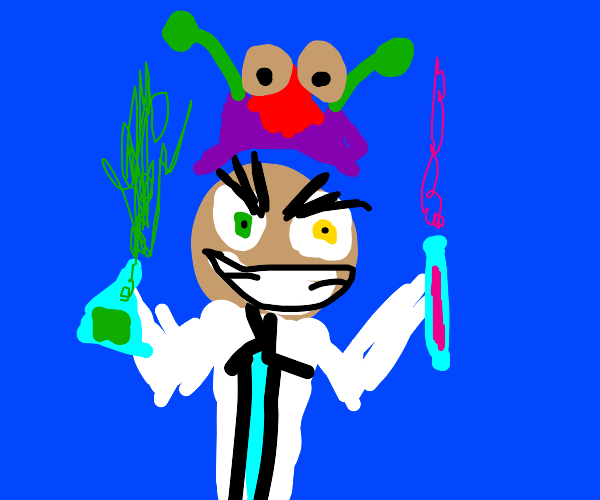 Mad scientist with alien hat