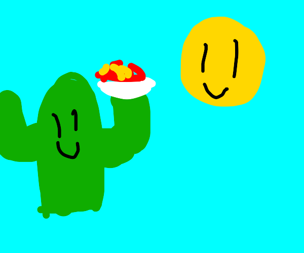 cactus offers spaghetti to the sun