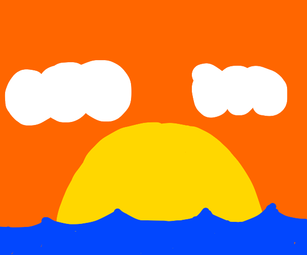 sunset over ocean with two clouds