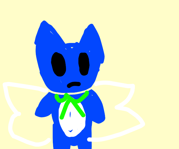 Winged Blue Cat is Unhappy