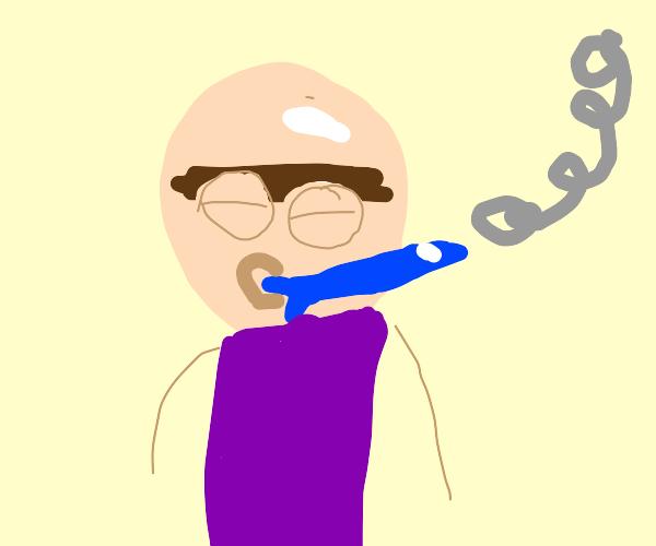 man with unibrow smokes fish