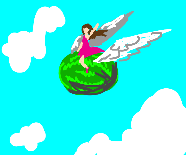 Girl riding on a flying watermelon in the sky