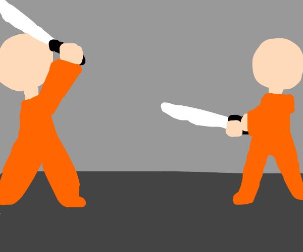 dudes fight w katanas in jail ??