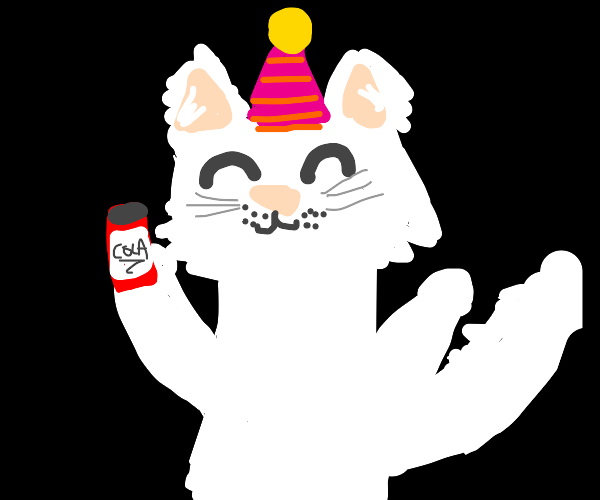 happy party cat with his cola