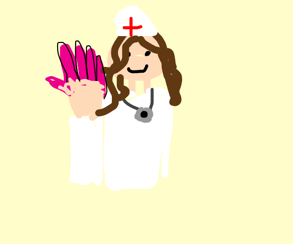 nurse with impractically long fingernails