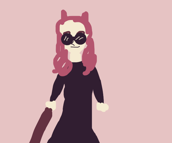 Cute Demon Girl with Shades and Walking Stick
