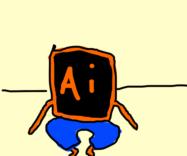 Adobe Illustrator wearing jeans sits on floor