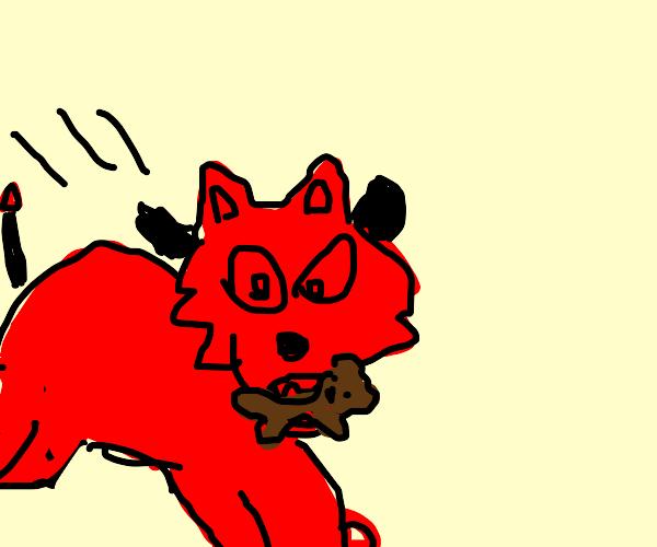 Devil wolf kidnaps teddybear