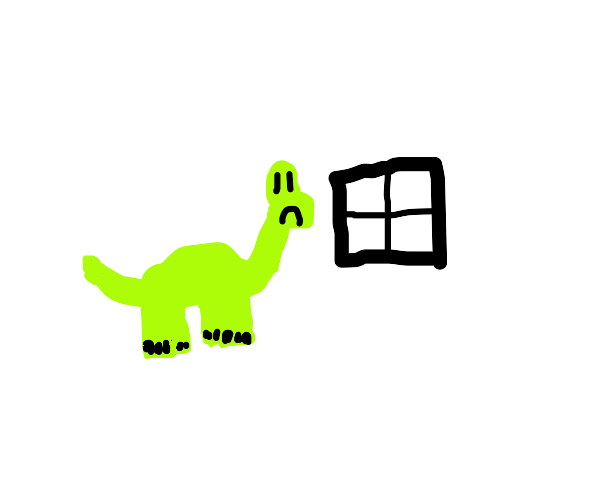 Sad green dino in white room look out window
