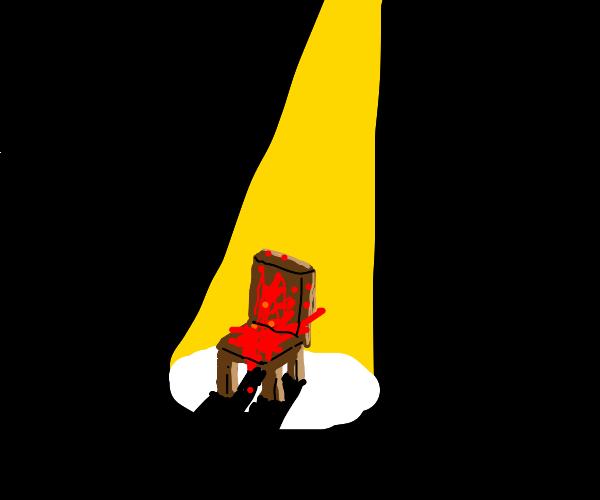 bloody chair in spotlight