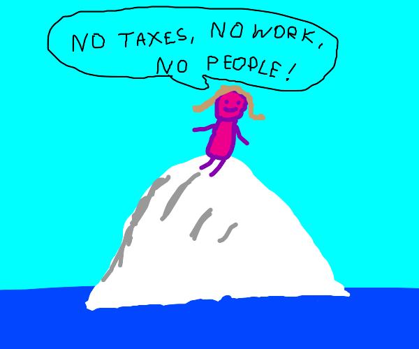 Lady stranded on an iceberg feeling blessed