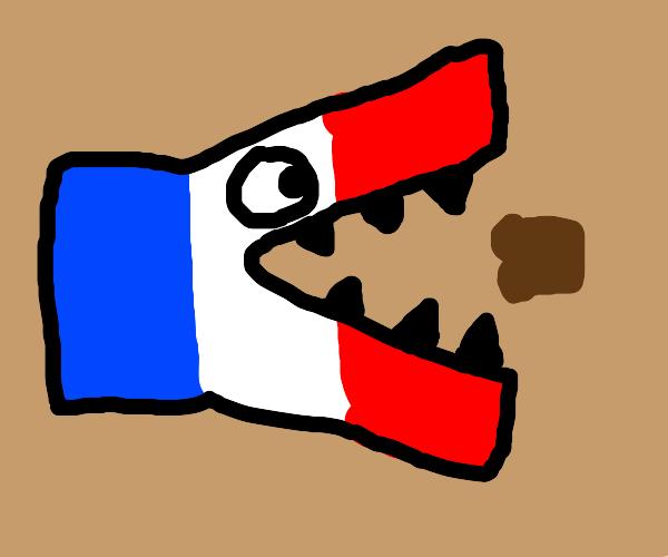 French flag eats toast