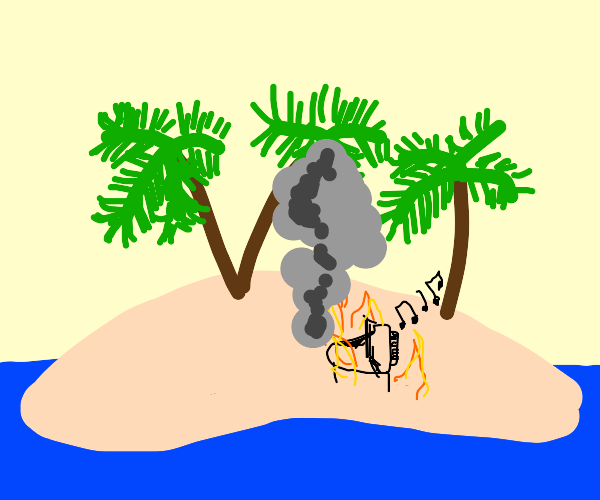 Burning Grand Piano on an Isolated Island