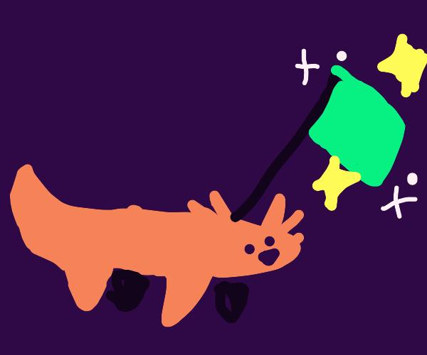 Axolotl with a sparkling flag