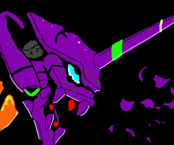 purple alien with big horn