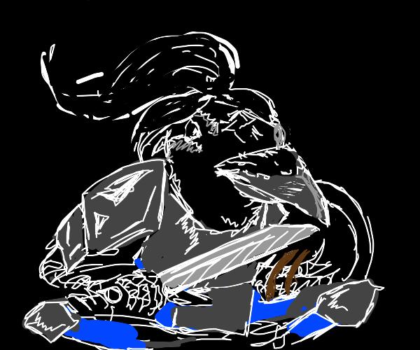 Tengu warrior, lost wings, black hair, sword