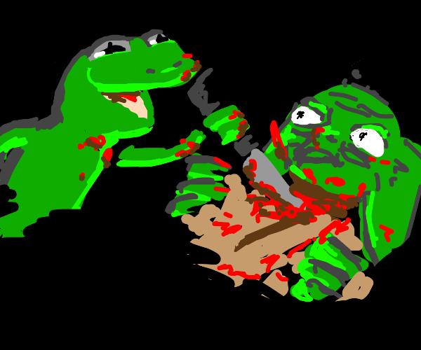 Kermit stabbing shocked Yoda