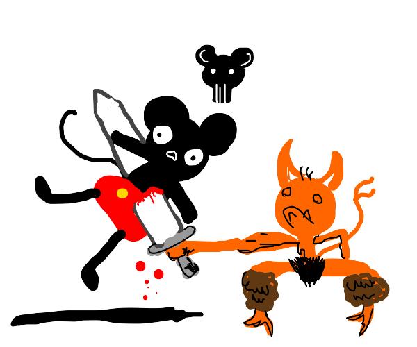 orange demon kills a mouse