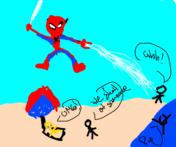 Spider-man shooting webs at the beach