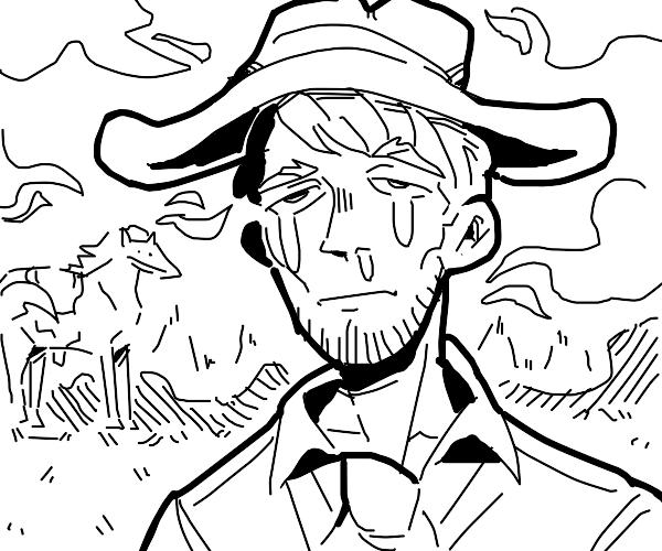 crying cowboy hat guy