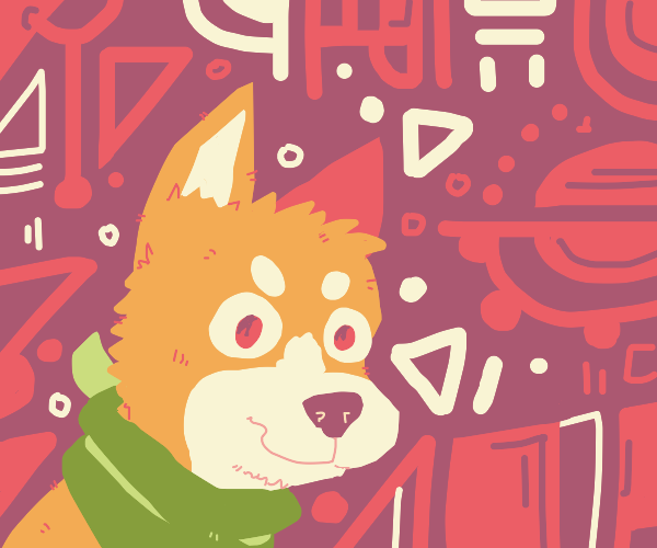 SkinnyDoge W/ greenScarf Likes red background