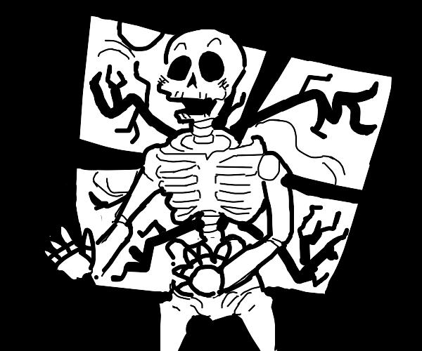 Adorable baby skeleton dances ... naked.