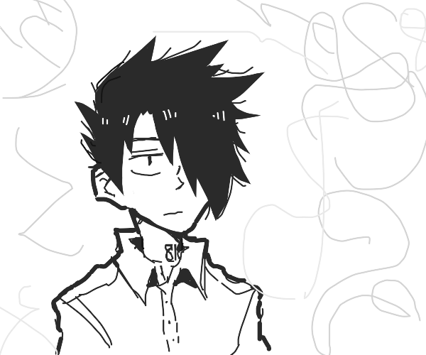 Anime boy trapped in squiggle land