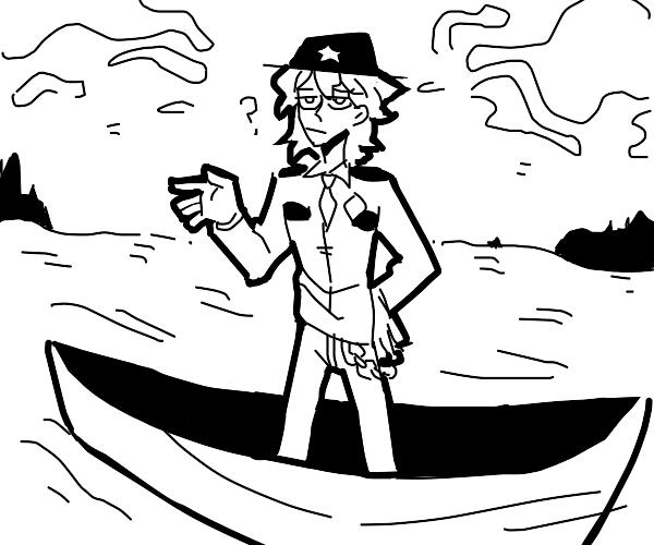 sherriff nagito in a rowboat