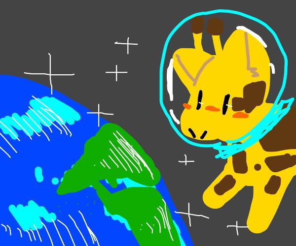 giraffe w/ astronaut helmet in space w/ earth