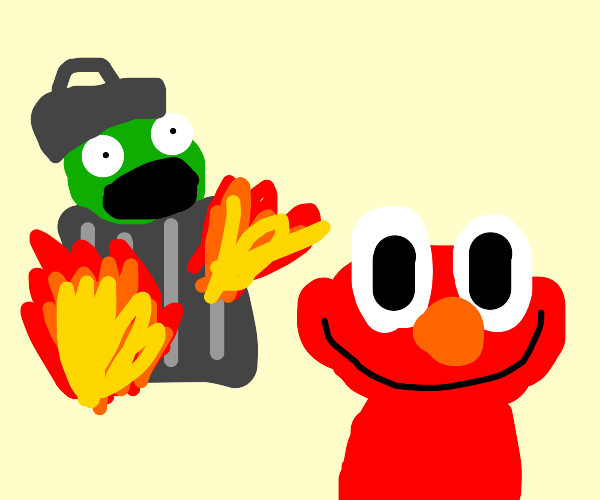 Elmo burning his green garbage friend alive