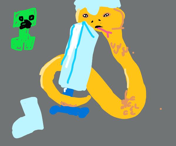 Snake wearing diamond armor and sword.(MC)