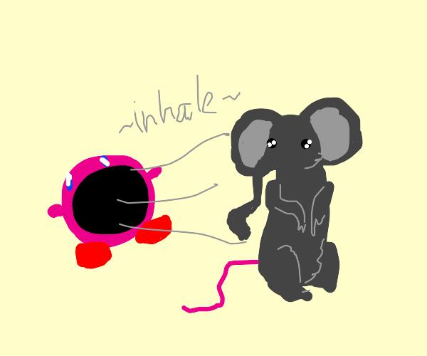 kirby inhales a mouse/elephant