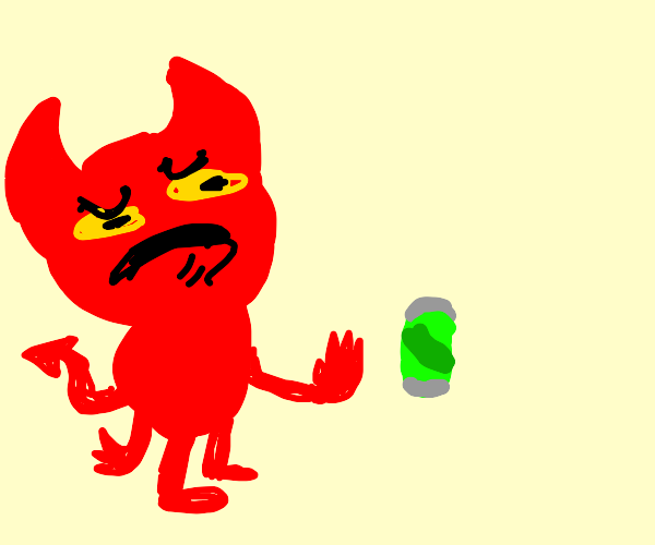 Demon hates green soda