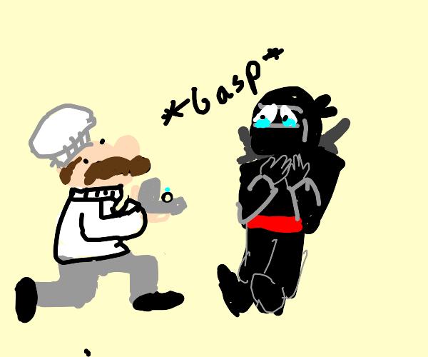 Chef proposes to ninja warrior