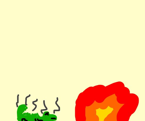 Lizard too hot next to fire.