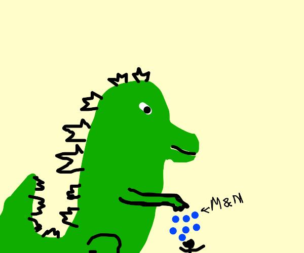 Godzilla sprinkles blue m&ms on man