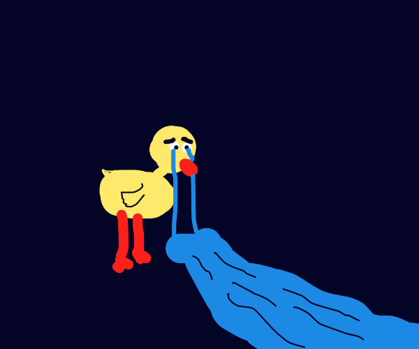 Sad duck cries a river of tears