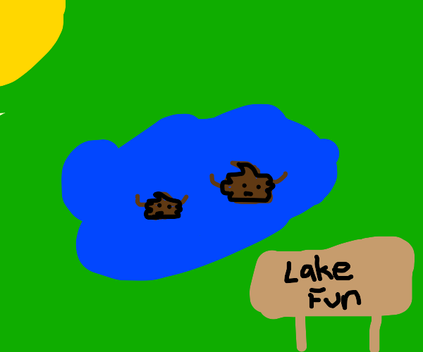 poo is playing in the lake