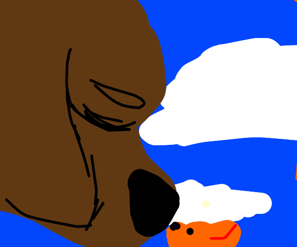 Big brown dog and lil orange dog touch noses