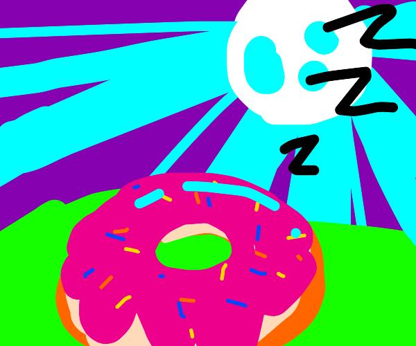 doughnut sleeping under the moonlight